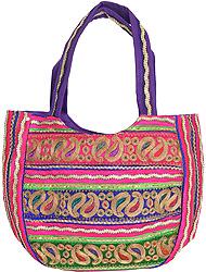 Вышитая индийская сумка (серебро, пейсли)