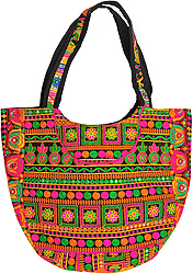 Beige Shopper Bag from Kutch with Multi-colored Ari Embroidery All-Over
