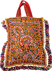 Antiquated Rabari Embroidered Shopper Bag from Kutch with Mirrors