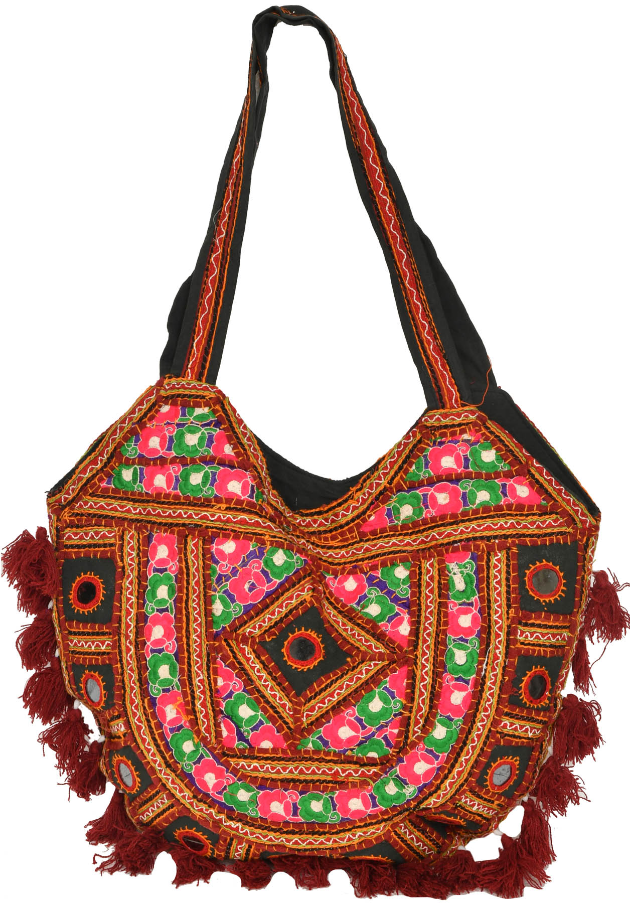 Shoulder bag from kutch with embroidery and mirrors