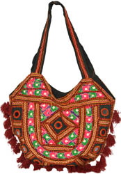Shoulder Bag from Kutch with Embroidery in Multi-Thread and Mirrors