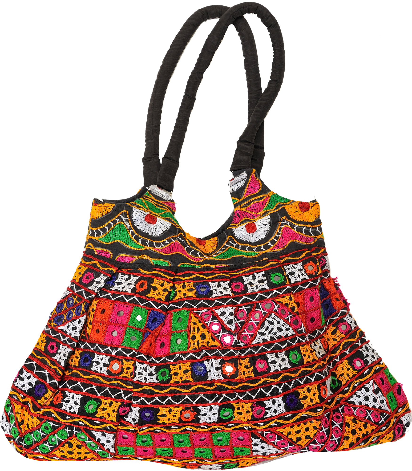 Multi color embroidered jhola bag from kutch with mirrors