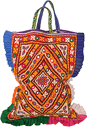 Multi-Color Antiquated Rabari-Emroidered Shopper Bag from Kutch with Mirrors