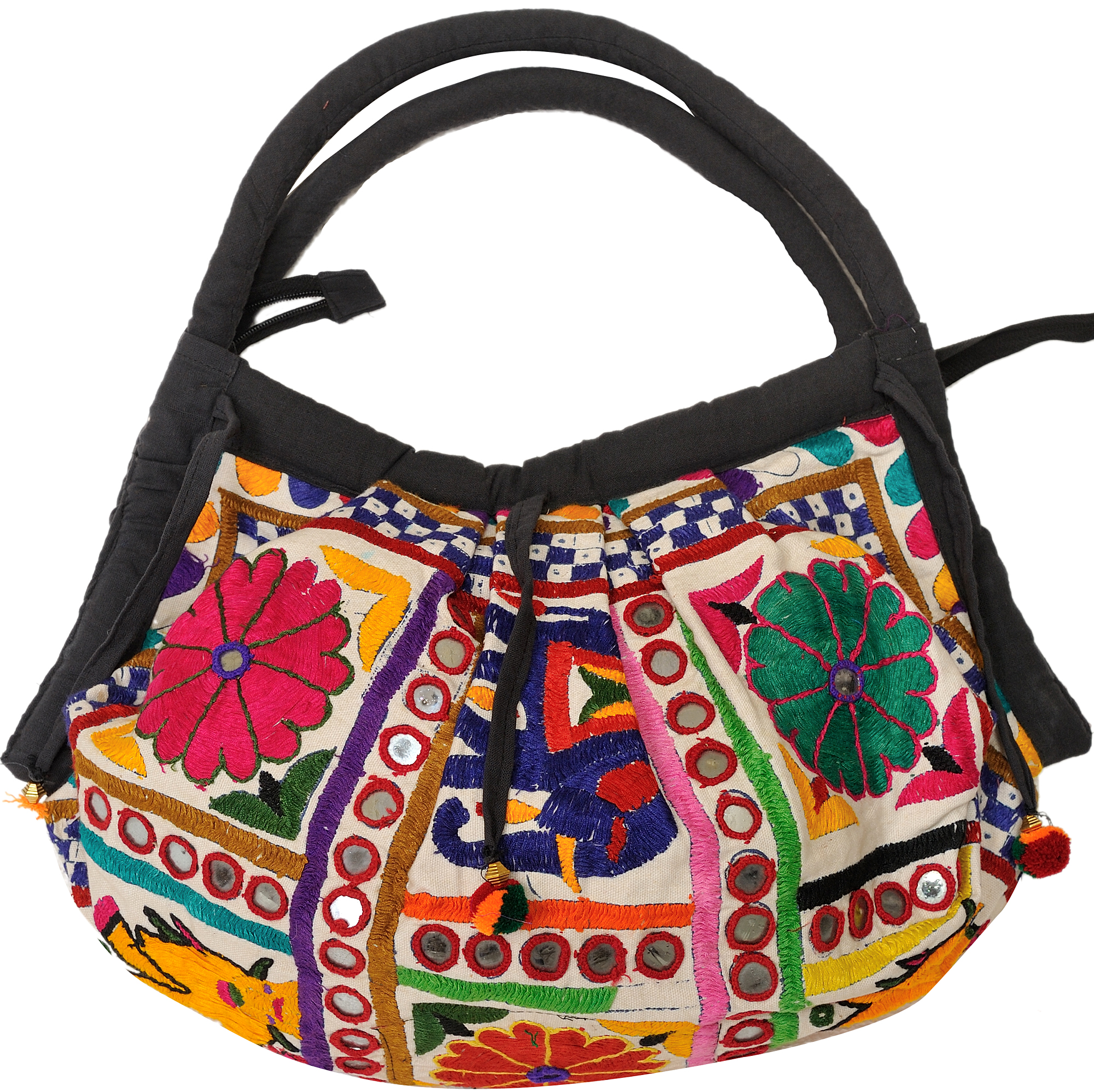 Shopper bag from kutch with embroidered flowers and mirrors