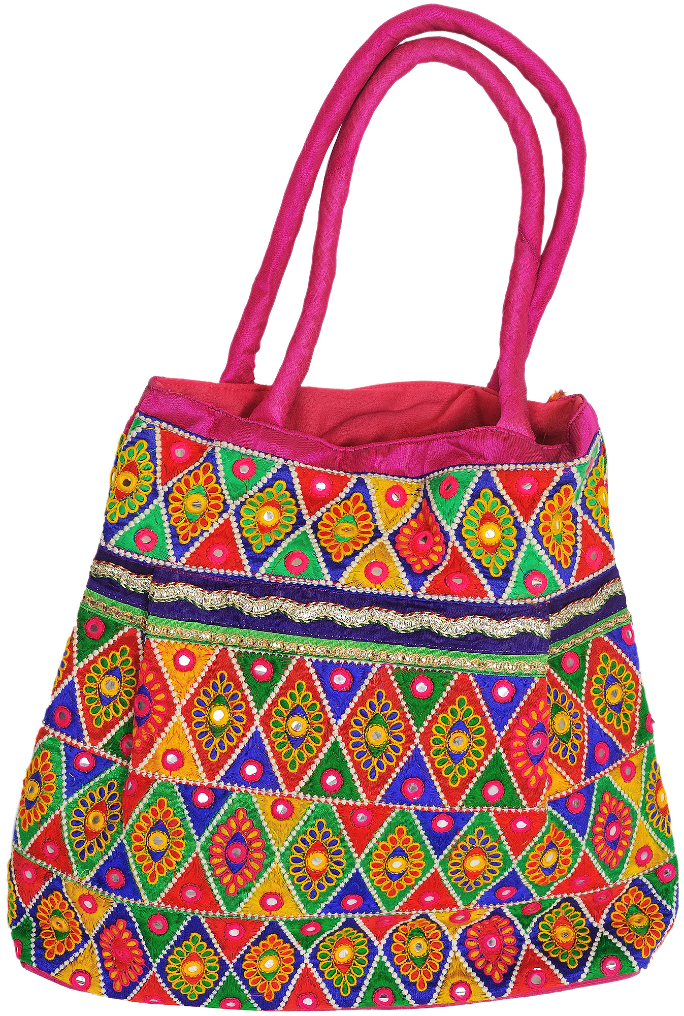 Multi color shopper bag from kutch with floral embroidery