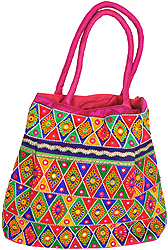 Multi-Color Shopper Bag from Kutch with Floral Embroidery and Mirrors