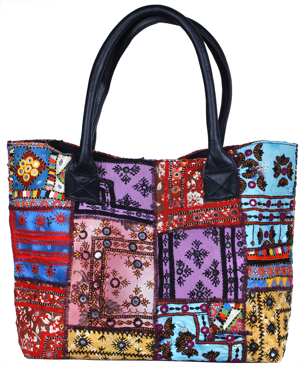 Multicolor shopper bag from kutch with embroidered patches