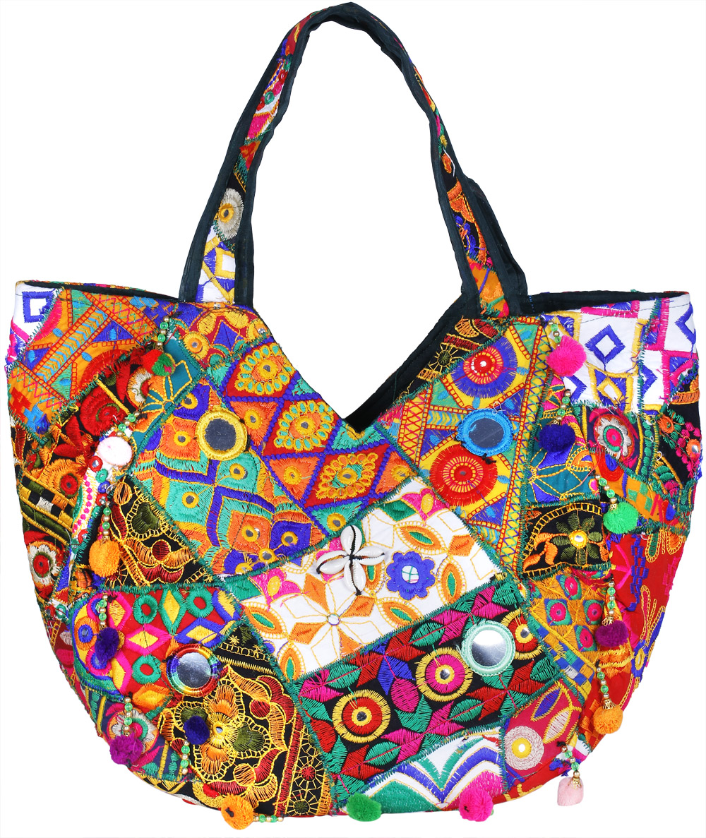 Multicolor shopper bag from kutch with floral embroidery