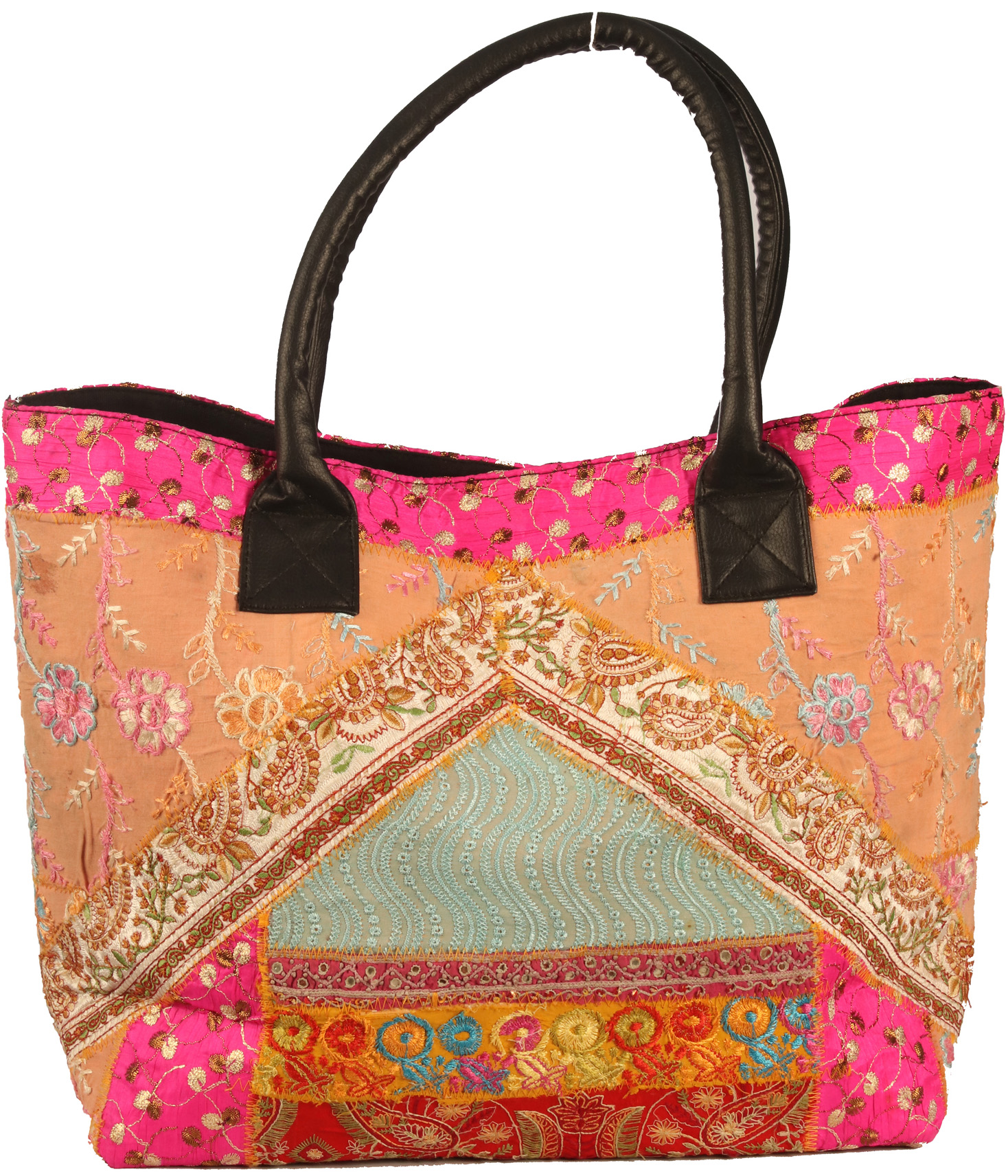 Multicolor floral embroidered large shopper bag from kutch