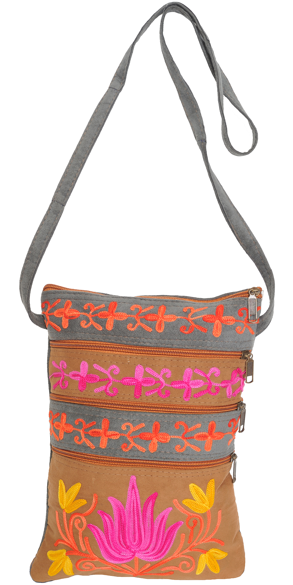 Gray and taupe shoulder bag from kashmir with ari embroidery