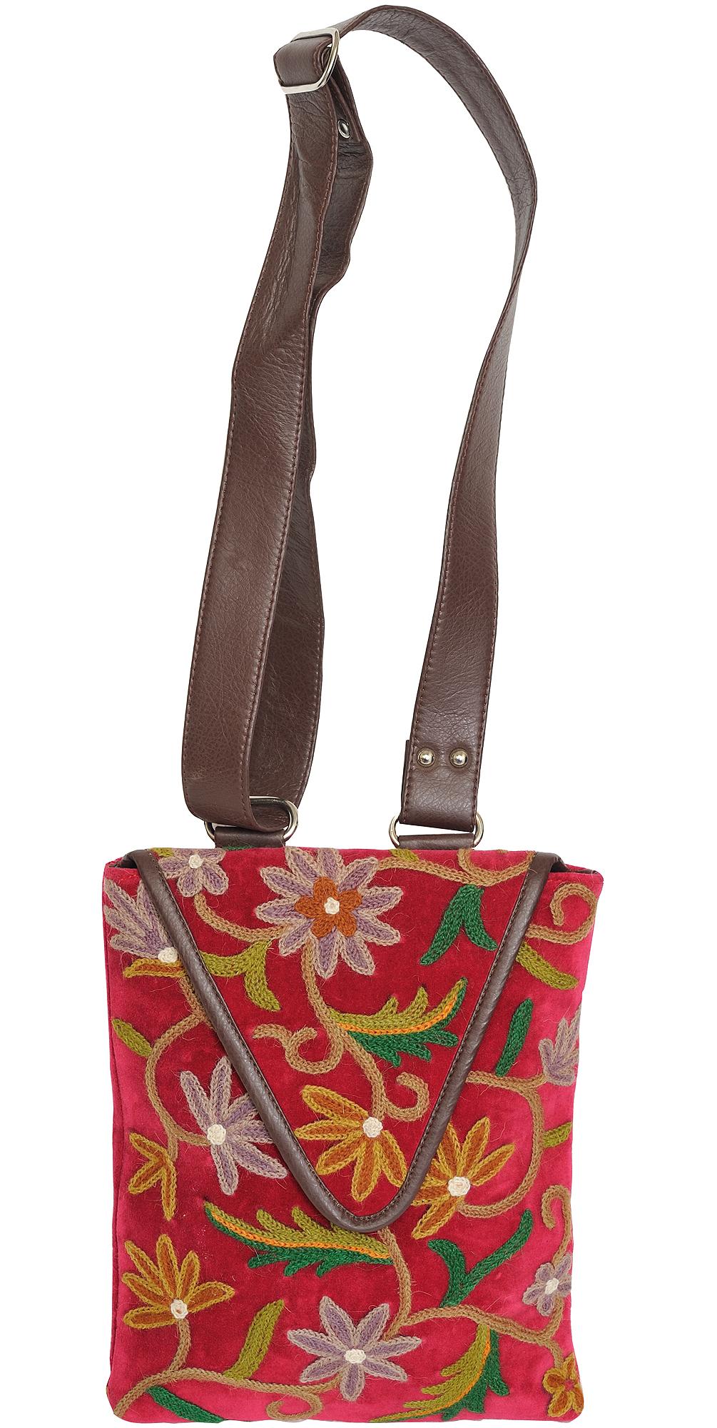Raspberry wine shoulder bag from kashmir with floral