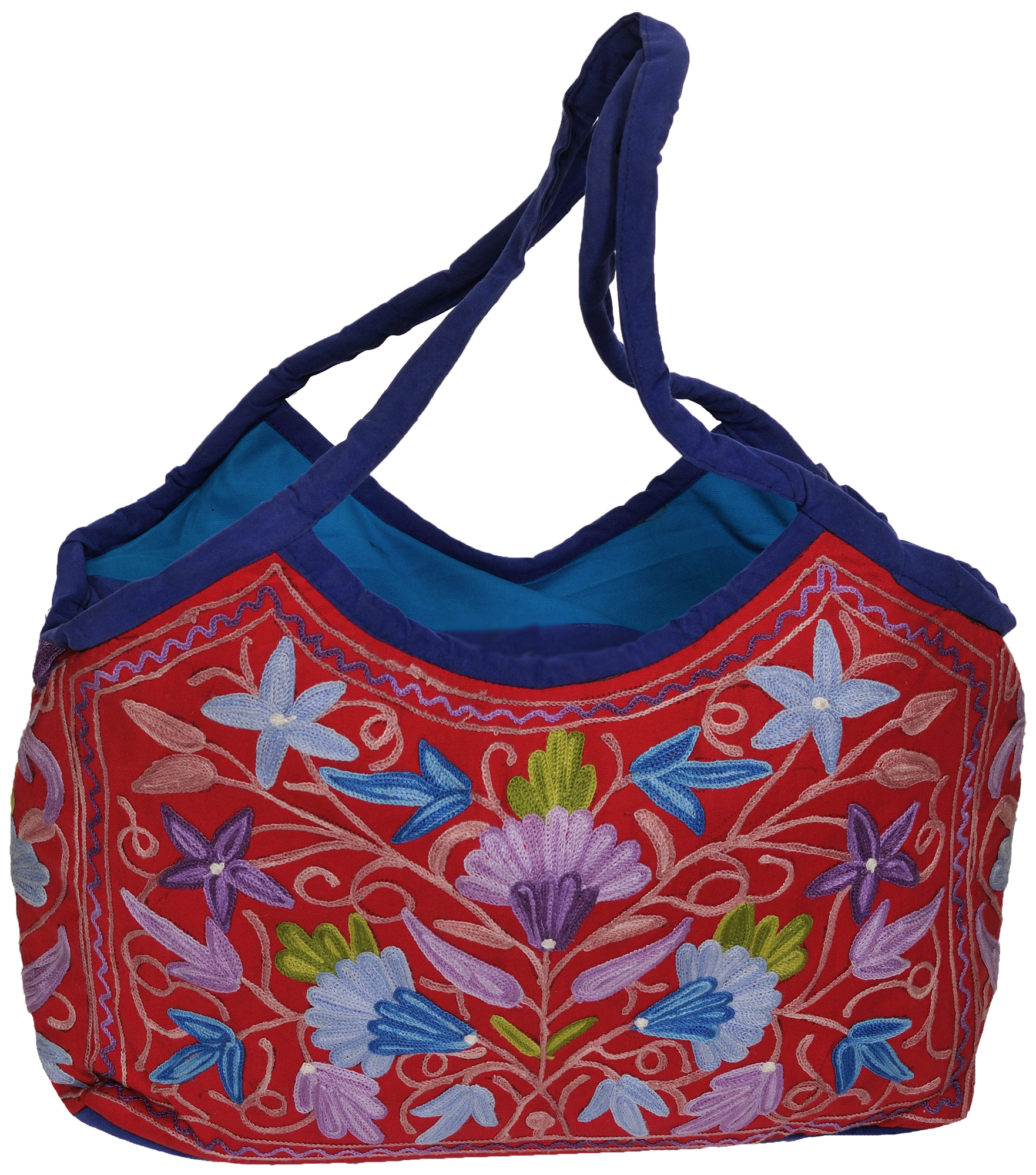 Red and blue shopper bag from kashmir with ari embroidered