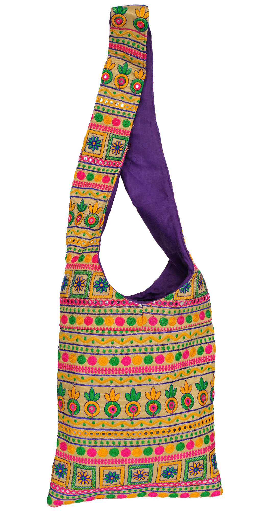Jhola bag from kutch with embroidery all over and mirrors