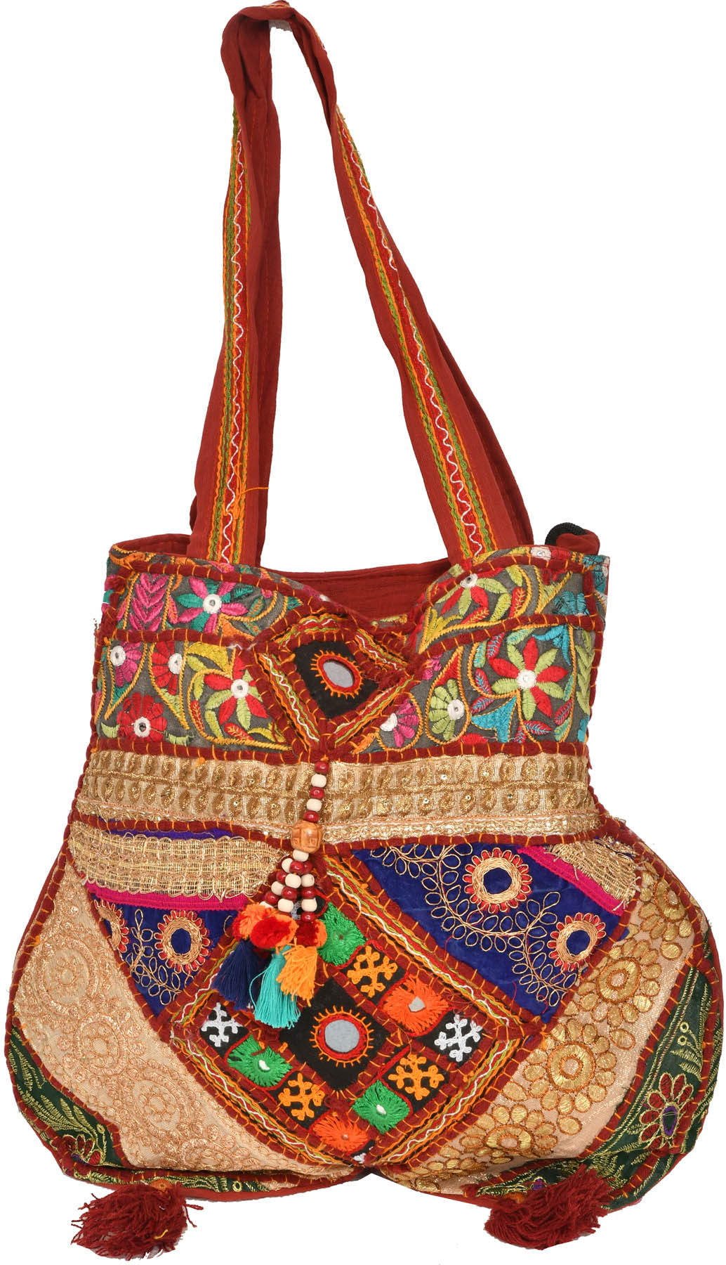 Earth red shoulder bag from kutch with embroidery and