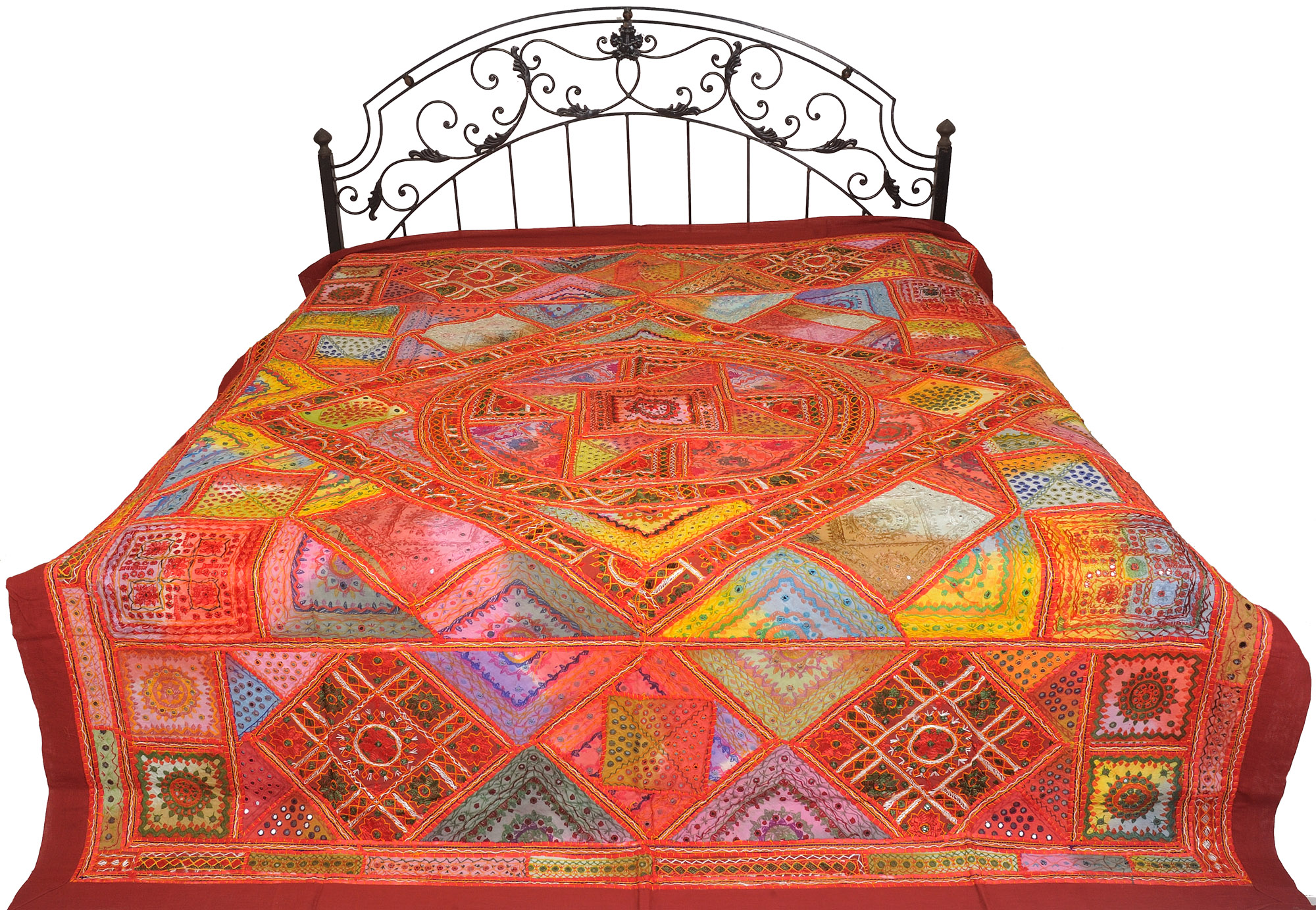 Multicolor mandala bedcover from kutch with embroidered for Mirror 18 patch