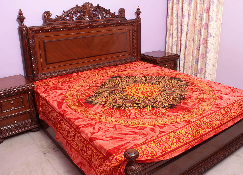 Coral Batik Bedspread With Printed Motifs