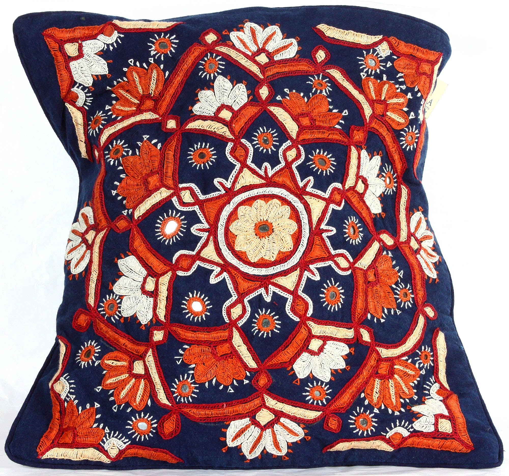 NavyBlue HandEmbroidered Paako Cushion Cover From Kutch