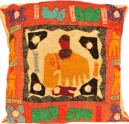Cushion Cover with Applique Elephant and Kantha Embroidery