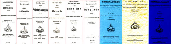 Taittiriya Samhita (With the Padapatha and the Commentaries of Bhatta Bhaskara Misra and Sayanacarya): Sanskrit Only in Nine Volumes - A Rare Book