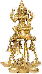 Auspicious Lakshmi Lamps with Bells