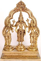 Lord Vishnu with Shridevi and Bhudevi