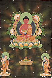 Buddha in the Dhyana Mudra with His Two Disciples