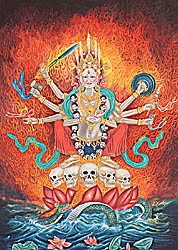 Goddess Chamunda of Nepal Making the Bindu Mudra
