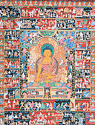 The Temptation of Shakyamuni Buddha by Mara and Scenes from His Life (Large Thangka)