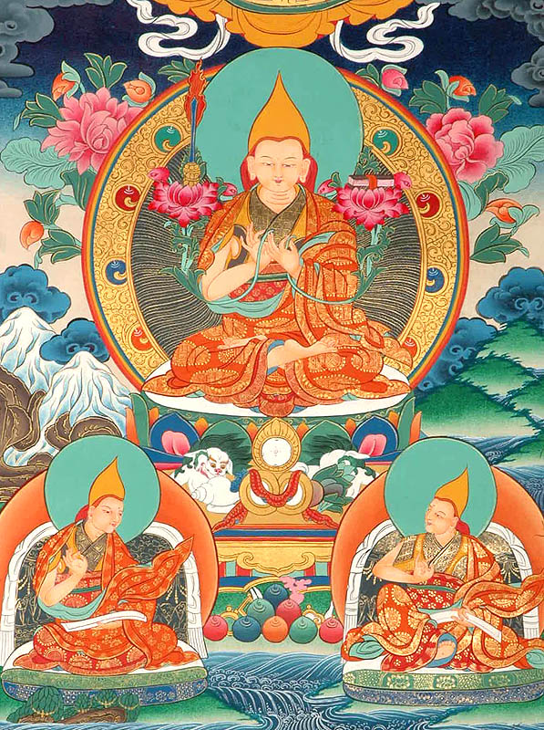 L´école Gelugpa Tsongkhapa_with_his_chief_disciples_gyaltsab_je_to02