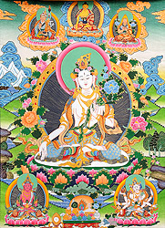 Goddess White Tara Who Bestows a Long Life on Her Devotees (Large Thankga)