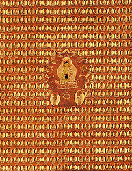 Thousand Buddhas Wall with Shakyamuni in the Centre Seated on Six-ornament Throne of Enlightenment