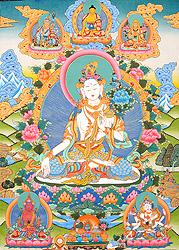 A Great Triad of Three Long Life Deities - White Tara, Amitayus and Ushnishavijaya