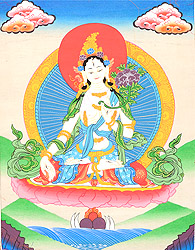 Sapta-Lochani Goddess White Tara Who Bestows The Special Gift of Long Life on Her Devotees