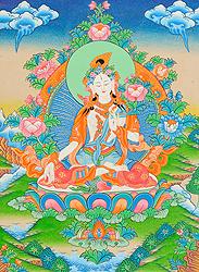 Goddess White Tara Who Blesses Long Life to Her Devotees