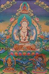 A Fine Portrait of Chenrezig (Four Armed Avalokiteshvara)