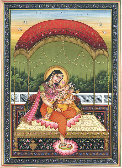 Baby Ganesha in the Lap of Mother Parvati
