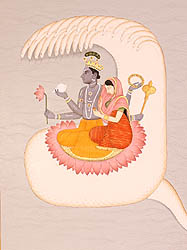 Lord Vishnu with Lakshmi in Kshirasagara, the Ocean of Milk