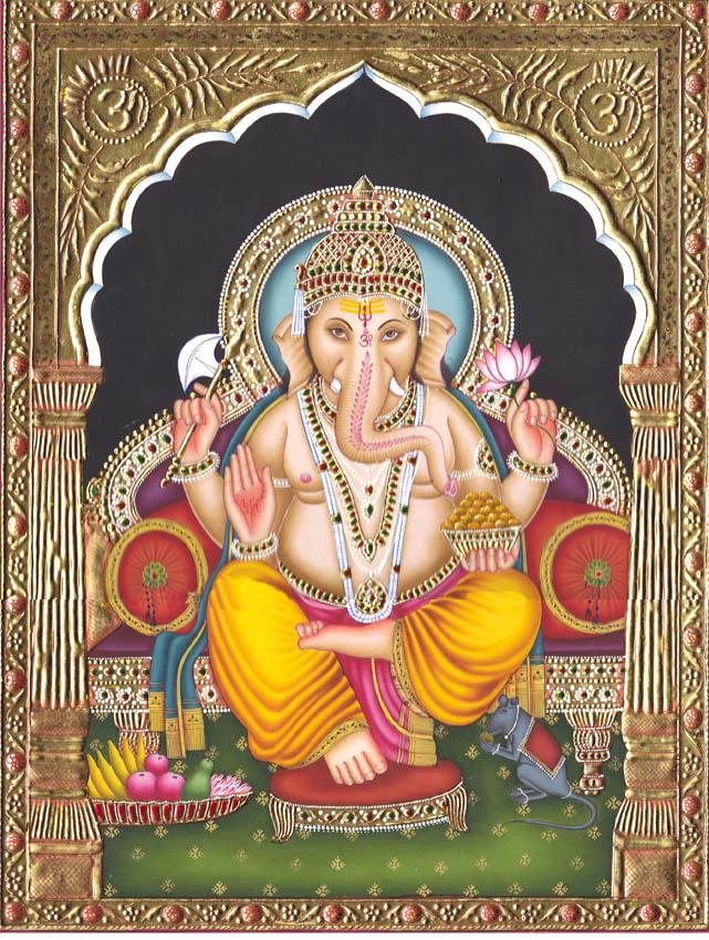 Gracious Ganesha (Embossed with 24 Karat Gold)