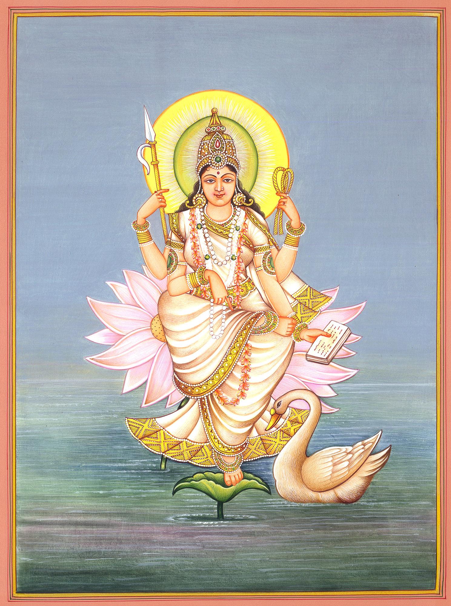 Paintings gt hindu gt goddess saraswati rising from ocean