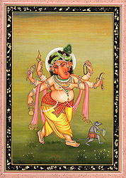 Six Armed Ganesha with His Rat