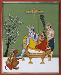 Rama, Sita, Lakshmana and Hanuman