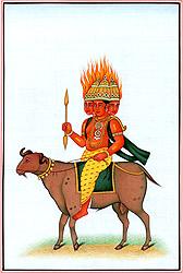 God Agni on His Mount Ram