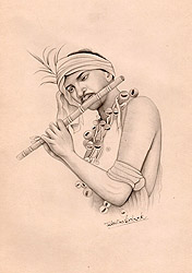 A Tribal Playing on Flute