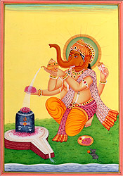 Lord Ganesha Worshipping Shiva Linga