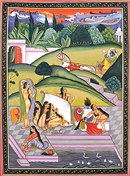 Krishna Spying on Bathing Gopis