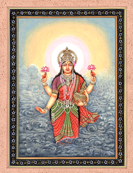 Goddess Lakshmi with Wealth Pot Rising from Ocean