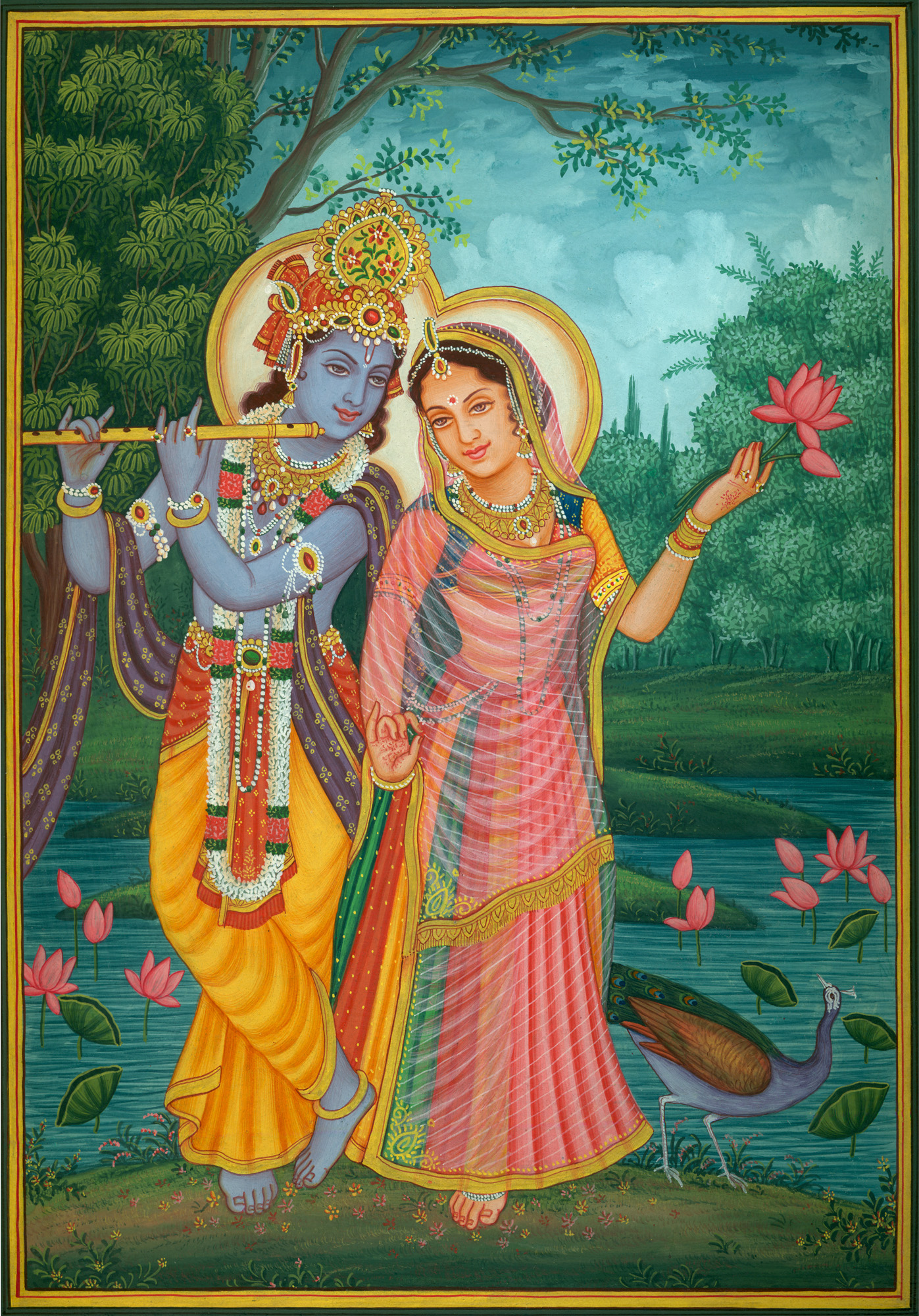 Lord Krishna Playing Flute For Radha