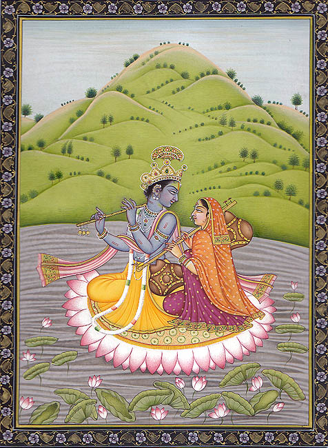 Radha and Krishna in the Ocean of Milk