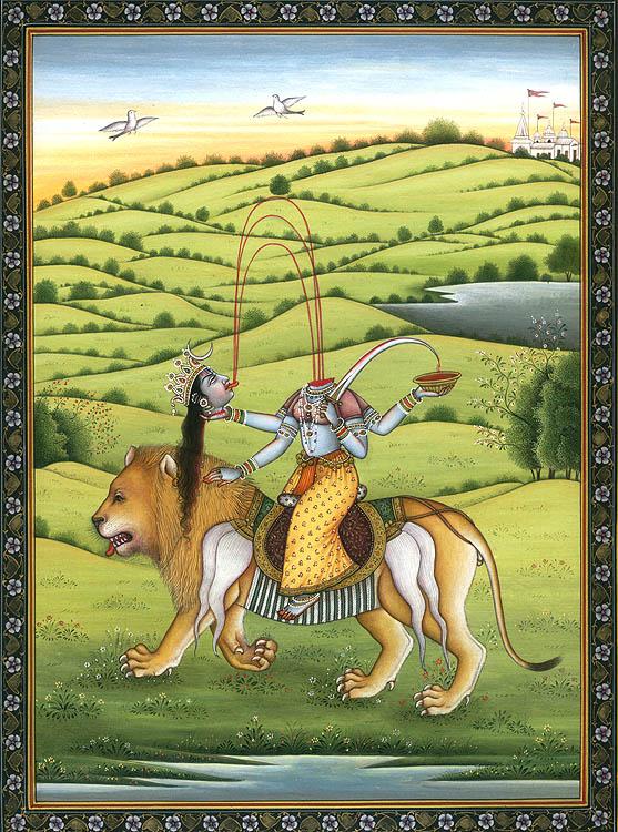 Mahavidya Chinnamasta Riding Lion