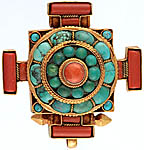 Coral and Turquoise Mandala Gau Box Pendant